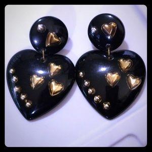 Oversized Lucite Black & Gold Dangle Clip Earrings